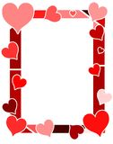 Colorful hearts frame in red tones. A practice frame suitable for tickets, Saint Valentine or other projects about love stock illustration