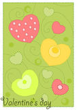 Colorful hearts on green background Stock Photos