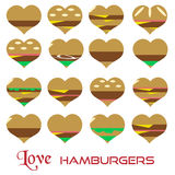 Colorful hearts hamburgers styles simple icons eps10 Stock Image