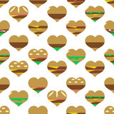 Colorful hearts hamburgers styles simple icons seamless pattern eps10 Stock Photo