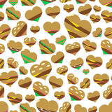 Colorful hearts hamburgers styles simple icons seamless pattern eps10 Royalty Free Stock Image