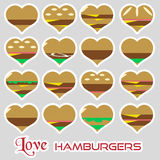 Colorful hearts hamburgers styles simple stickers icons eps10 Royalty Free Stock Photo