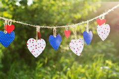 Colorful hearts hanging on green background Royalty Free Stock Images