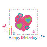 Colorful hearts happy birthday card Royalty Free Stock Photography