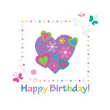 Colorful hearts happy birthday card Royalty Free Stock Photos