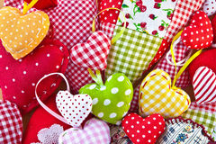 Colorful hearts made from different patterns Royalty Free Stock Photos