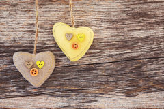 Colorful hearts over wooden background. Valentines Day background. Toned, copy space, vintage style Stock Photography