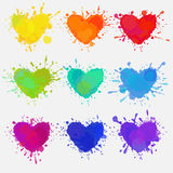Colorful hearts with paint splatters. Vector colorful hearts, set of splattered and messy colorful hearts with paint stains for Valentine`s day design Stock Photo
