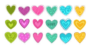 Colorful hearts patch set. Royalty Free Stock Photography