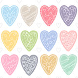 Colorful hearts. Romantic seamless vector pattern for Valentine's Day or wedding. Stock Image