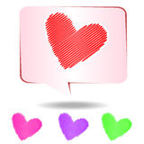 Colorful hearts scribble  on white background Stock Image