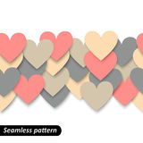 Colorful hearts seamless border Stock Images