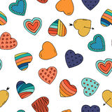 Colorful hearts - seamless hand drawn pattern. Doodle vector illustration Stock Photography