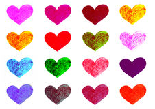 Colorful hearts set. Handmade pencil drawings on white background Stock Photography