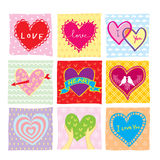 Colorful Hearts Set. Colorful Heart Shape Hand Writing Set Royalty Free Stock Images