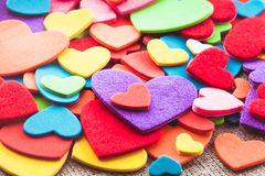 Colorful hearts Stock Photography