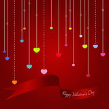 Colorful hearts with Valentine ribbon Royalty Free Stock Photo