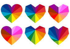 Colorful hearts, vector set Stock Photo
