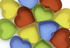 Colorful hearts  on white background Stock Photo