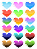 Colorful hearts. On a white background Stock Images