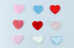 Colorful of hearts on white background Royalty Free Stock Photography