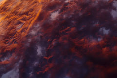 Colorful Heavenly Orange Clouds On Sky at Sunset Royalty Free Stock Photo
