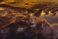 Colorful Heavenly Orange Clouds On Sky at Sunset Royalty Free Stock Images