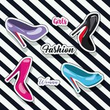 Colorful heeled shoes sticker and text of girls fashion woman on pop art diagonal linear background. Vector illustration Stock Images