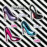 Colorful heeled shoes sticker and text of girls fashion woman on pop art diagonal linear background. Vector illustration Stock Image