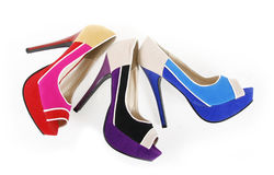 Colorful heels shoes Royalty Free Stock Photography