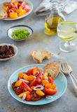 Colorful heirloom tomato and peaches salad Stock Photo