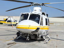 Colorful helicopter. A rescue helicopter on the tarmac Royalty Free Stock Photo