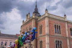 Colorful Helium Balloons and Bishops Palace in Novi Sad Royalty Free Stock Photos