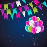 Colorful helium balloons  bunch and bunting flags. On background with confetti. Concept of birthday party, anniversary and wedding invitations Royalty Free Stock Images