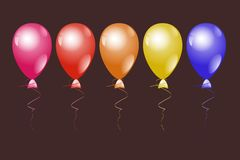 Colorful helium balloons on dark background stock illustration
