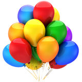 Colorful helium balloons (Hi-Res). Multicolor (yellow, red, blue, green, cyan, orange, purple) party helium balloons. This is a detailed 3D render. Isolated on vector illustration