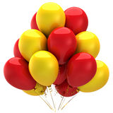 Colorful helium balloons (Hi-Res). Party double colored (yellow and red) helium balloons. This is a detailed 3D render.  Isolated on white Royalty Free Stock Image