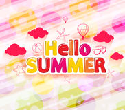 Colorful Hello Summer with Summer Icons in an Abstract Circle Royalty Free Stock Photography
