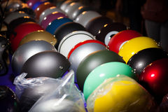 Colorful of helmet on trad market Stock Image