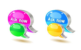 Colorful help bubble chat icon Stock Photography