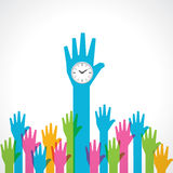 Colorful helping hand with clock Royalty Free Stock Photos