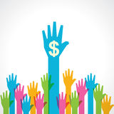 Colorful helping hand with dollar symbol Stock Image