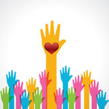 Colorful helping hand with heart Royalty Free Stock Images