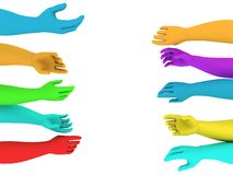 Colorful helping hands Royalty Free Stock Photos