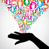 Colorful helping hands Royalty Free Stock Photo