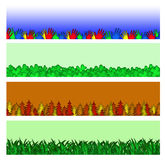 Border Header Banner Set. Colorful helping hands, 4 leaf clovers, autumn trees, and green grass border set.  Useful as banners, headers, borders, or trim Royalty Free Stock Photography