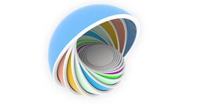 Abstract multicolor hemispheres perfectly fit each other. Design or size related animation stock footage