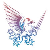 Colorful heraldy griffon with sword Royalty Free Stock Images