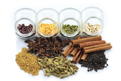 Colorful herbs and nuts Stock Photos