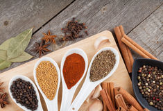 Colorful herbs and spices selection. Aromatic ingredients on wood table royalty free stock photo